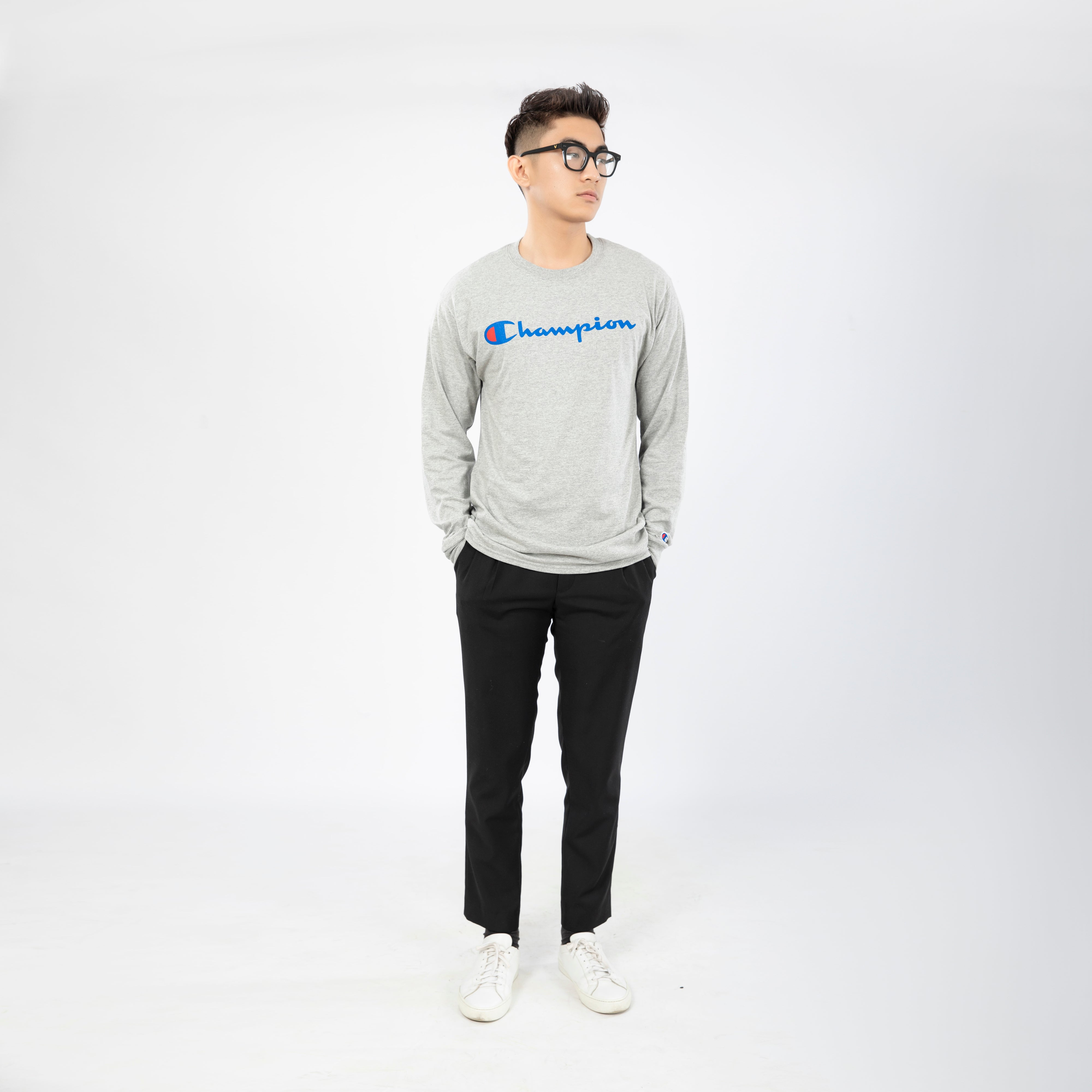 Heritage Direct Flock Script Long Sleeve </br> ( Oxford Grey )