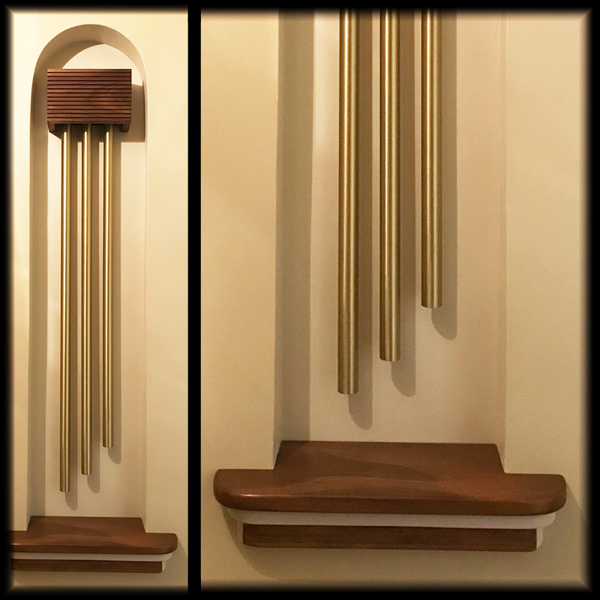 ElectraChime Long Bell Door Chime in custom niche with walnut shelf