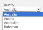 Country Drop Down Menu