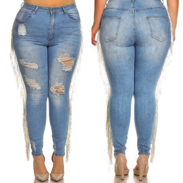 HIGH RISE TASSEL JEANS (LIGHT DENIM)