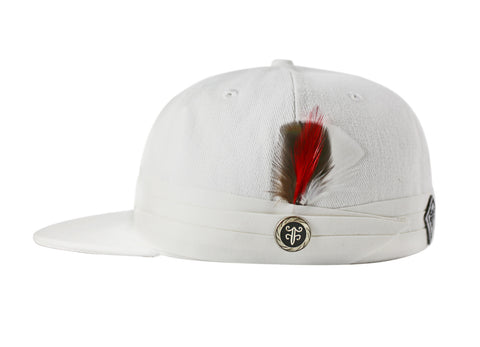 The FeatherFitted® Hat — White with white band and multi-colored feather