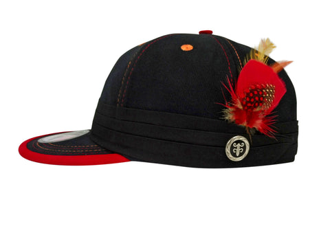 Black FeatherFitted with red trim & thread