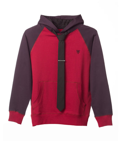 Tie Hoodie - Red Two Tone