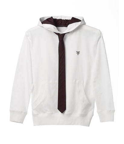 Tie Hoodie - Classic White with Black Tie