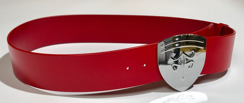 Voom Voom Leather Belt — Red