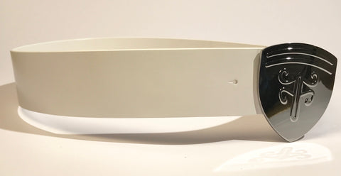 Voom Voom Leather Belt — White