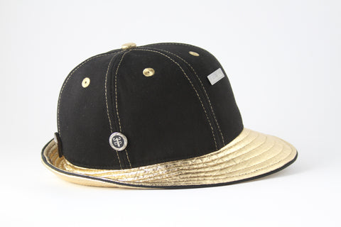 Gold Fitdora with Black Brim