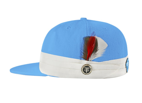 The FeatherFitted® Hat — Sky blue with white band and multi-colored feather
