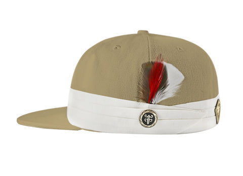 The FeatherFitted® Hat — Tan with white band and multi-colored feather