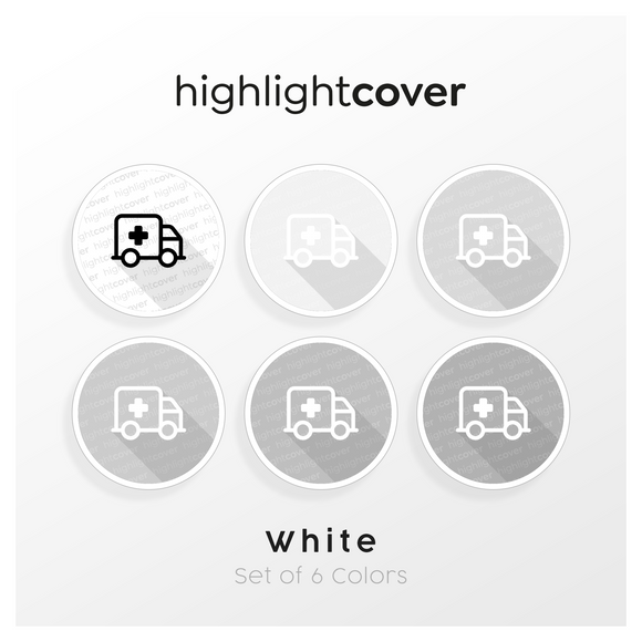 Instagram Highlight Cover Krankenwagen / Ambulance In 6 verschiedenen White Farben