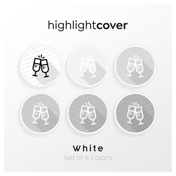Instagram Highlight Cover Glas-cheers / Glass-cheers In 6 verschiedenen White Farben