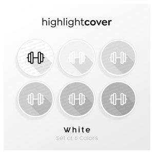 Instagram Highlight Cover Kurzhantel / Dumbbell In 6 verschiedenen White Farben