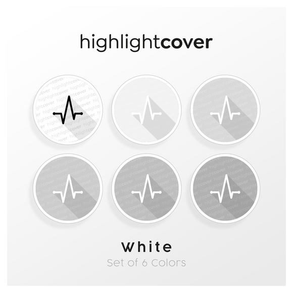 Instagram Highlight Cover Herzfrequenz / Heart-rate In 6 verschiedenen White Farben