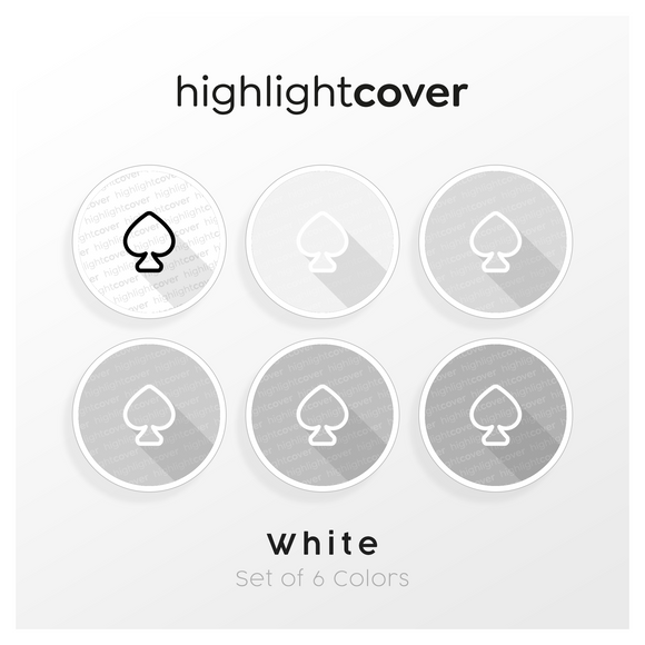 Instagram Highlight Cover Pik / Spade In 6 verschiedenen White Farben