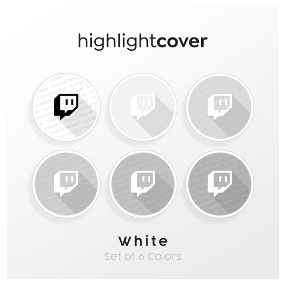 Instagram Highlight Cover Twitch In 6 verschiedenen White Farben