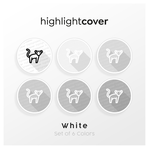 Instagram Highlight Cover Affe / Monkey In 6 verschiedenen White Farben