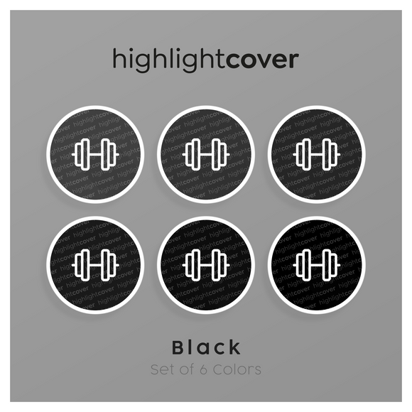 Instagram Highlight Cover Kurzhantel / Dumbbell In 6 verschiedenen Black Farben