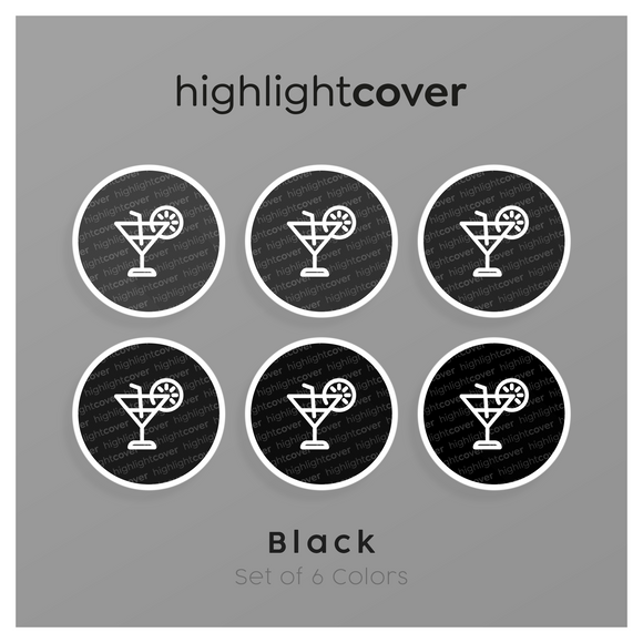 Instagram Highlight Cover Cocktail In 6 verschiedenen Black Farben