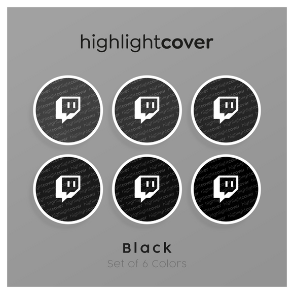 Instagram Highlight Cover Twitch In 6 verschiedenen Black Farben
