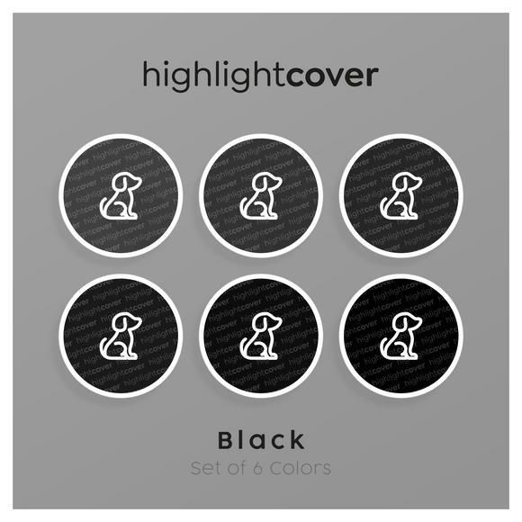 Instagram Highlight Cover Hund / Dog In 6 verschiedenen Black Farben