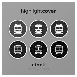 Instagram Highlight Cover Zug / Train In 6 verschiedenen Black Farben