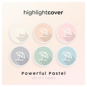 Instagram Highlight Cover Sonnenschirm / Umbrella-beach In 6 verschiedenen Powerful Pastel Farben