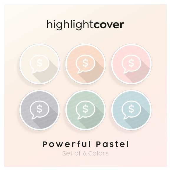 Instagram Highlight Cover Kommentar-dollar / Comment-dollar In 6 verschiedenen Powerful Pastel Farben