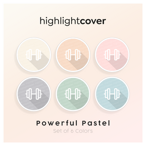 Instagram Highlight Cover Kurzhantel / Dumbbell In 6 verschiedenen Powerful Pastel Farben