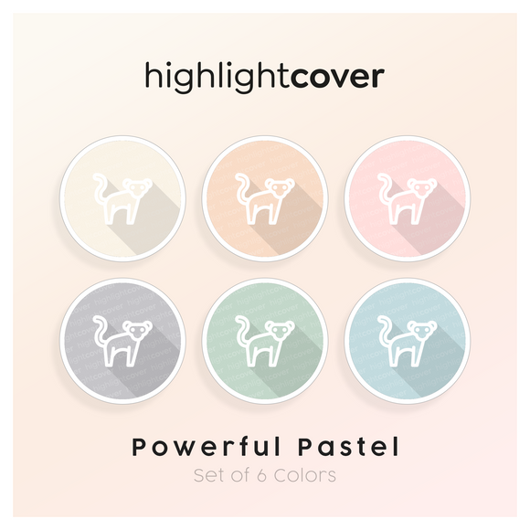 Instagram Highlight Cover Affe / Monkey In 6 verschiedenen Powerful Pastel Farben