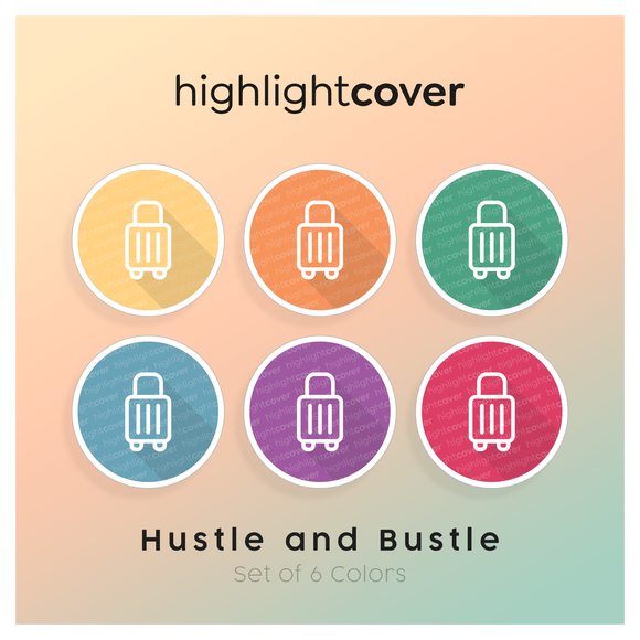 Instagram Highlight Cover Koffer-rollen / Suitcase-rolling In 6 verschiedenen Hustle and Bustle Farben