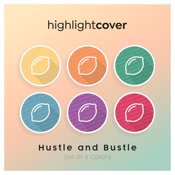 Instagram Highlight Cover Zitrone / Lemon In 6 verschiedenen Hustle and Bustle Farben