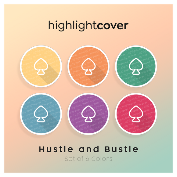 Instagram Highlight Cover Pik / Spade In 6 verschiedenen Hustle and Bustle Farben