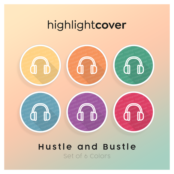 Instagram Highlight Cover Kopfhörer / Headphones In 6 verschiedenen Hustle and Bustle Farben