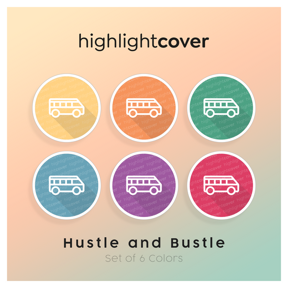 Instagram Highlight Cover Pendelbus / Shuttle-van In 6 verschiedenen Hustle and Bustle Farben
