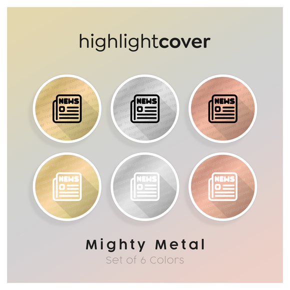 Instagram Highlight Cover Nachrichten / News In 6 verschiedenen Mighty Metal Farben