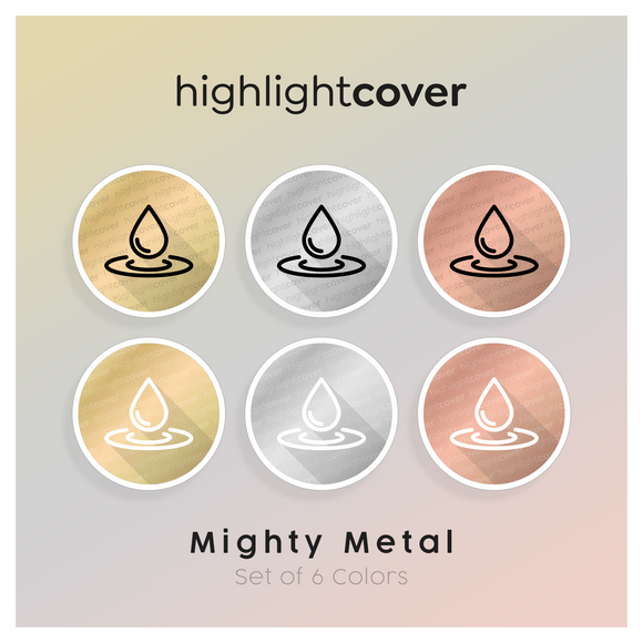 Instagram Highlight Cover Wasser-tropfen / Water-drop In 6 verschiedenen Mighty Metal Farben