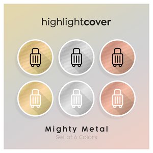 Instagram Highlight Cover Koffer-rollen / Suitcase-rolling In 6 verschiedenen Mighty Metal Farben