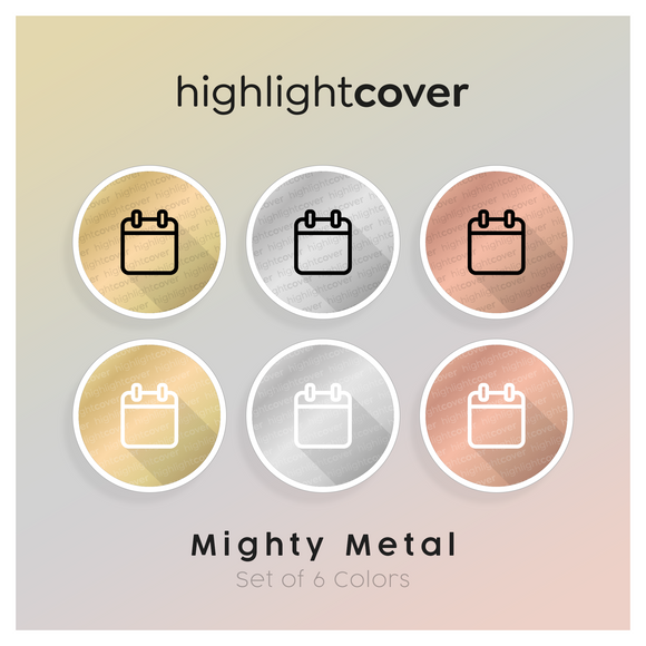 Instagram Highlight Cover Kalender / Calendar In 6 verschiedenen Mighty Metal Farben