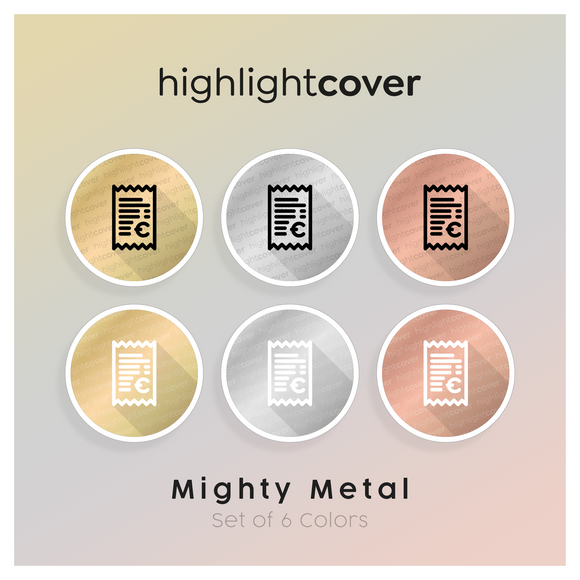 Instagram Highlight Cover Quittung-euro / Receipt-euro In 6 verschiedenen Mighty Metal Farben