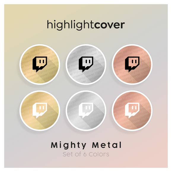 Instagram Highlight Cover Twitch In 6 verschiedenen Mighty Metal Farben