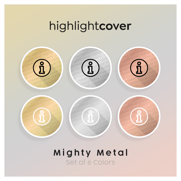 Instagram Highlight Cover Info In 6 verschiedenen Mighty Metal Farben