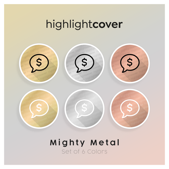 Instagram Highlight Cover Kommentar-dollar / Comment-dollar In 6 verschiedenen Mighty Metal Farben