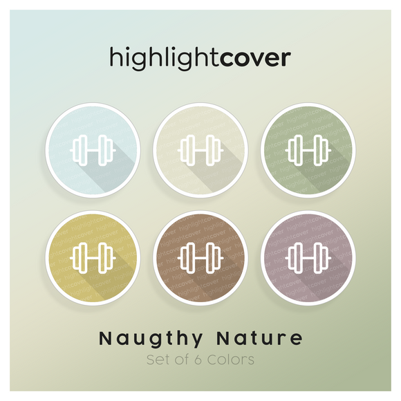 Instagram Highlight Cover Kurzhantel / Dumbbell In 6 verschiedenen Naughty Nature Farben