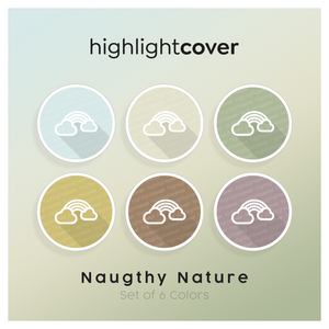 Instagram Highlight Cover Wolken-regenbogen / Cloud-rainbow In 6 verschiedenen Naughty Nature Farben
