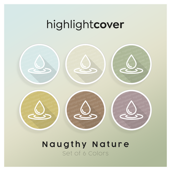 Instagram Highlight Cover Wasser-tropfen / Water-drop In 6 verschiedenen Naughty Nature Farben