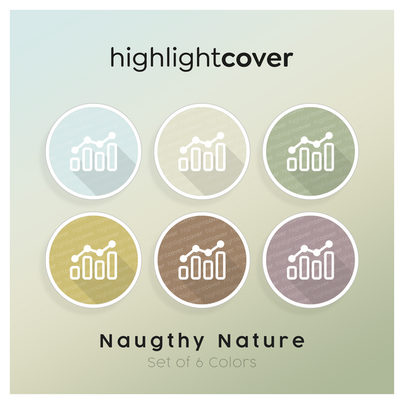 Instagram Highlight Cover Analytik / Analytics In 6 verschiedenen Naughty Nature Farben