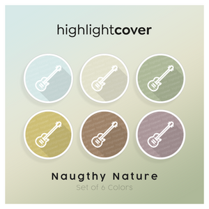 Instagram Highlight Cover Gitarren-elektrisch / Guitar-electric In 6 verschiedenen Naughty Nature Farben