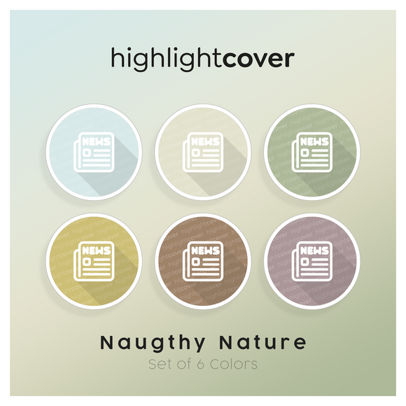 Instagram Highlight Cover Nachrichten / News In 6 verschiedenen Naughty Nature Farben