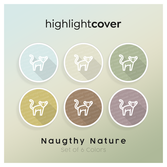 Instagram Highlight Cover Affe / Monkey In 6 verschiedenen Naughty Nature Farben