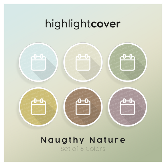 Instagram Highlight Cover Kalender / Calendar In 6 verschiedenen Naughty Nature Farben